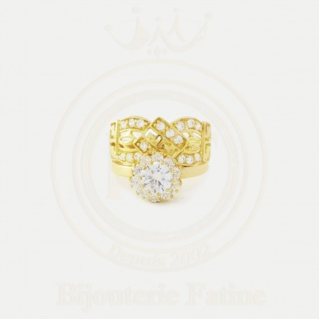 Alliance solitaire chic et fascinant en Or 18 carats