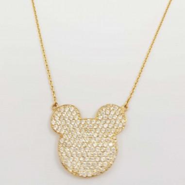 Chaîne pendentif mickey mouse en Or 18 carats