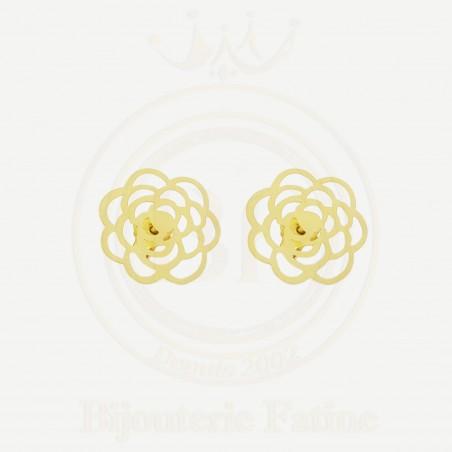Boucles d'Oreilles Fleurs très chic en or 18 carats