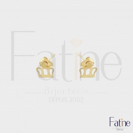 Boucles d'Oreilles Enfant couronne en or 18 carats